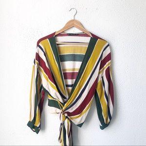 Zara | Multicolor Striped Cropped Tie Wrap Blouse
